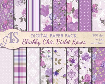Digital Shabby Chic Violet Roses Seamless Paper Pack, 16 printable Scrapbooking papers, retro roses Collage, Instant Download, set 186