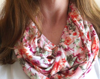Pink Floral infinity scarf botanical print scarf jersey gift for her mothers day spring scarf valentines day candy pink summer accessory
