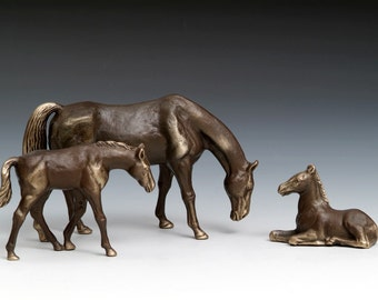 Grazing Mare and Ponies bronze figurines, Set of Three (save by buying all 3)