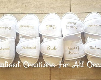 Personalised Wedding Party Slippers - Bride slippers - Bridesmaid gift