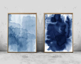 Abstract Watercolor Set Blue Painting Abstract art Minimalist art Minimal Watercolor Printable art Large Abstract Painting Modern art Set 2
