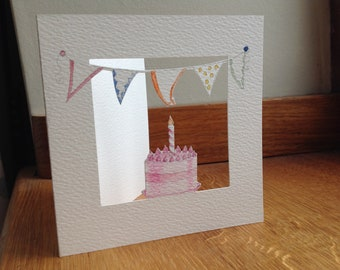 Bunting and A Pink Cake Greeting Card