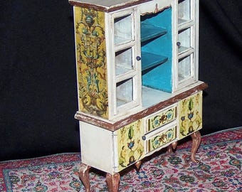 1:12th Dollhouse China Cabinet. Painted and Decoupaged.  Country French.