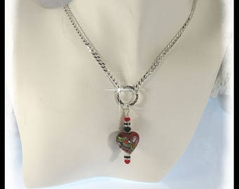 2390, alentine's jewelry, valentine's necklace, red heart necklace, lampwork jewelry, lampwork necklace, gifts for women,  red jewelry