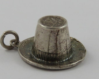 Hat Sterling Silver Vintage Charm For Bracelet