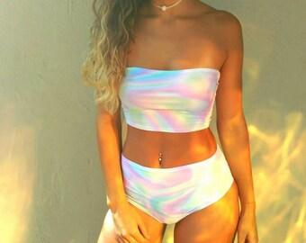 Pastel Rainbow Tube Top Festival Crop Top