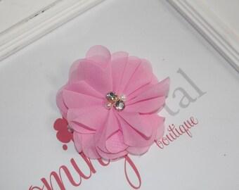 Pink Chiffon Rhinestone/Pearl Flower Clip