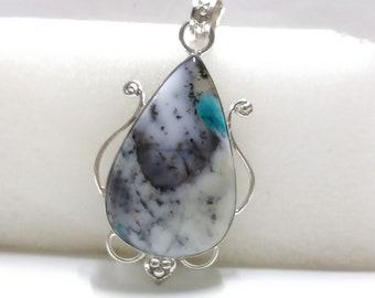 Dendrites Opal Pendant, Dendrites Opal Silver Pendant, Designer Pendant Jewelry, 925 Sterling Silver Pendant, Handmade Pendant