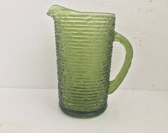 Glass Pitcher by Anchor Hocking - Avocado Green Soreno Pattern