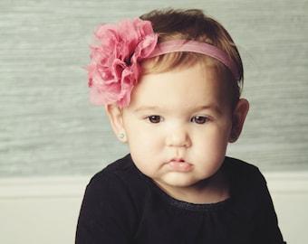 Mauve Chiffon and Lace Flower Headband, Newborn headband, Toddler headband, Newborn Photography Prop.