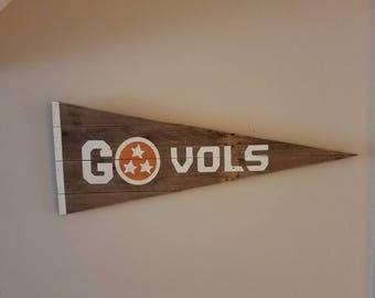 Reclaimed wood Tn Vols pennant flag