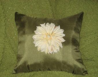 Ivory Dahlia Flower Pillow
