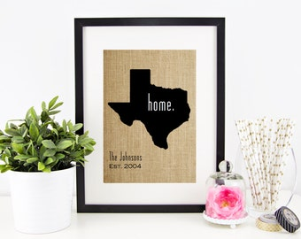 State Pride Burlap Print | Family Established Sign | State Art | Personalized Name Sign | Southern Roots | Rustic Home Decoration