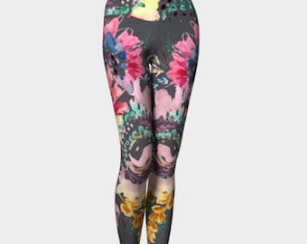 Boho Legging, Yoga Legging, Bohemian Style, Festival Wear, Yoga Pants, Capri Length, High Waist, Leggings with Pattern, Gray, pink, floral