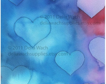 Heart Splash- Blues - Digital Elements of Collage Sheet - Printable PDF