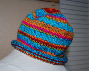 Knit hat of with colors reminiscent of the desert sky