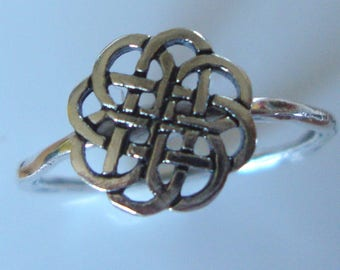 Twiggy Ring Celtic Knot, endless, shield - solid sterling silver is Eco friendly from recycled source - Custom made in your size- Eternity