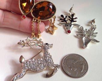 Vintage Reindeer Brooches and Post Earrings