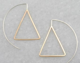 modern triangle earrings, geometric threader earrings, minimal earrings, two tone earrings , mixed metal, Rachel Wilder Handmade Jewelry