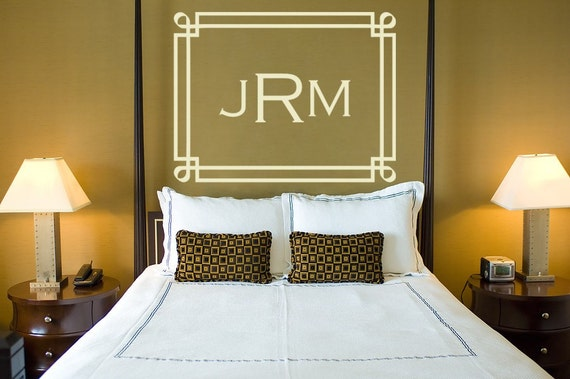 Monogram Decal Initials Vinyl Decal Wall Art Wedding Monogram Frame
