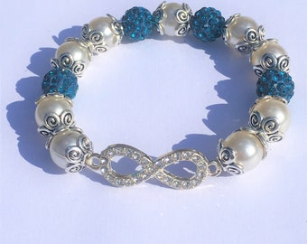 """The blue and white Infinity"" bracelet"