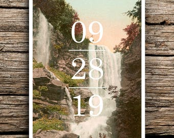 Waterfalls Postcard Save the Dates // Mountain Wedding Save the Date Postcards Catskills Woodland Waterfall New York Pennsylvania Minimal