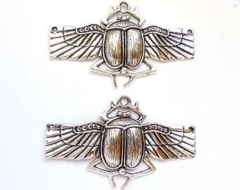 2 Antique Silver Scarab Connectors - 2-IN-5