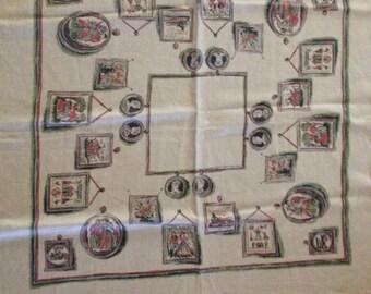 Linen Victorian Motif Tablecloth
