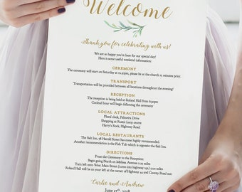 Welcome Wedding Itinerary Welcome Letter Note Template, Greenery, Printable Wedding Welcome Template, Wedding Ideas, Edit in WORD or PAGES