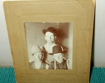 """Vintage or Antique Small Photograph on Cardboard-""""the Bachelors Three""""-One with Pipe-All with Hats-FREE SHIPPPING!"""