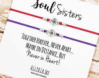 Soul Sister Bracelet Set | Best Friend Gift | Long Distance Friends | Soul Sister Card | Big Little Sorority | Matching Bracelets