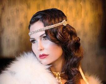 Champagne Flapper Headband, Great Gatsby Headpiece, Costume Hair Accessory, Swarovski Crystal, Beaded Headband, Bridesmaid Accessory