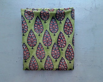 Fabric/Cotton/BLOCK PRINT/Gauze/110 x 100cm/India/Hand block printed/Cypress Tree/Olive Green/Green/Black/Red/Anokhi/Free Shipment