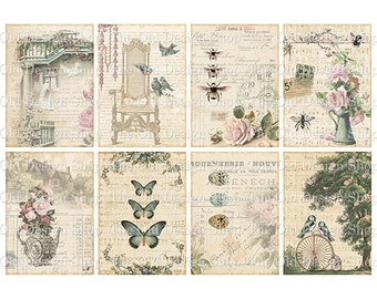 Shabby Chic Altered Art ATC Cards Printable Digital Collage Sheet