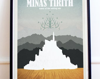 Minas Tirith - Lord of the Rings - The Hobbit - Travel Poster Style Art Print - Lord of the Rings Poster - Retro - Wall Art - Home Decor