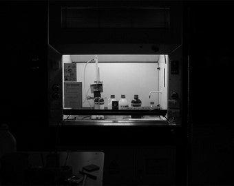 Dark Science high contrast black and white photograph