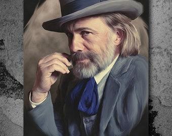 Dr. King Schultz, Django Unchained, Quentin Tarantino, Artwork, Handmade, Printable Art, Poster, Instant Download, Digital Print,Wall Art