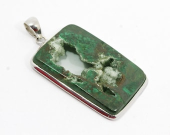 """CHRYSOCOLLA DRUZY Pendant 2.7"""" Long 150Ct. 925 Solid Sterling Silver Natural Gemstone Green Chrysocolla P-74"""