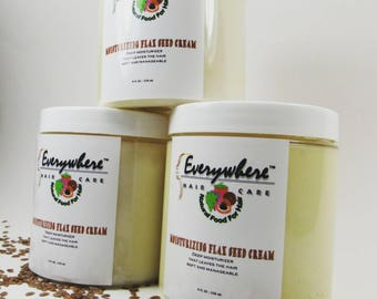 Moisturizing Flax Seed Cream/moisture/hydrate/non-greasy/organic/100% natural/dry hair/protective styles/kinky hair/ by Everywhere Haircare