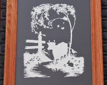 Cow At Creek  - Scherenschnitte - Hand Paper Cutting Art signed and dated By Janet Lynch -11x14 Framed