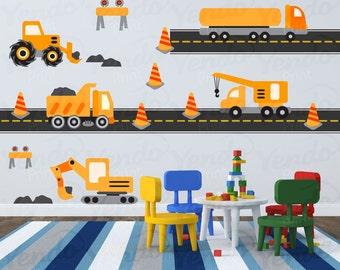 Construction Truck Decal - Transportation Wall Decals - Children Wall Decals - Boys Room Decals