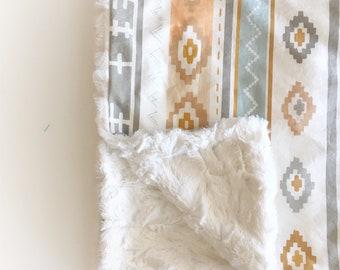 Boho Baby Blankets -Neutral Fur Blanket /Aztec Baby Blankets /Minky Blanket /Neutral Nursery Blanket /Boho Crib Blankets /READY to Ship Gift
