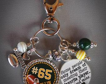 Sports Mom Key Chain, Football Mom Key Chain, Football Mom Pendant, Team Mom Gift, Personalized Jewelry, Customized Key Chain, Sports Gift