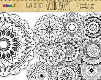 MANDALA / KALEIDOSCOPE - outline - digital clip art - Personal and Commercial Use