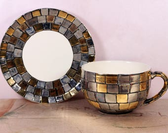 "Ceramic Cup and Saucer Set, Modern Handmade Cup with Saucer , Porcelain tea cup and saucer ""Byzantine mosaic"""