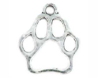 15 pcs - School Mascot Silver Paw Charm Outline 19x16mm - Ships from Texas by TIJC - SP1075