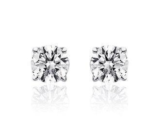 0.85 Carat Round Brilliant Cut Diamond Solitaire Stud Earrings 14K White Gold