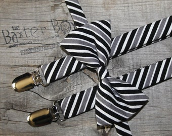 Ready-to-Ship ---- SIZE SMALL SET - Black, Grey and White diagonal stripe bow tie &  suspender set for little boys - wedding, ring bearer