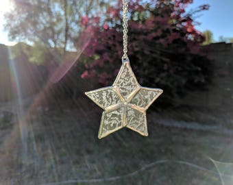 "3"" Stained Glass Star Ornament, Small Stained Glass Suncatcher, Frosted Glass Star Ornament, Glue Chip Glass Star"