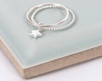 Sterling Silver Twinkle Little Star Midi Ring